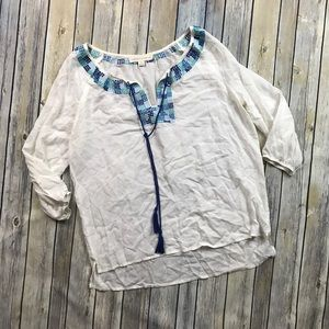 Love Stitch Peasant Embroidered Top
