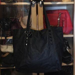 Lulu Handbags - NEW black faux leather stud tote
