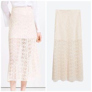 Zara Dresses & Skirts - NWT Zara Lace Layer Midi Skirt