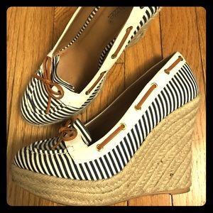 shoedazzle Shoes - Striped Nautical-Inspired Wedges