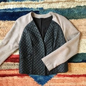 Sparkle & Fade Jackets & Blazers - Two-toned wool and quilted leather jacket