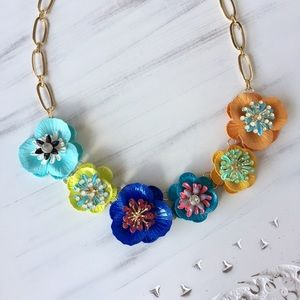 Bright Color Flower Boho Statement Necklace