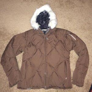 Salomon Brown hooded ski jacket size medium