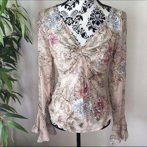 Silk floral handkerchief bell sleeve blouse