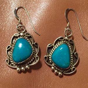 Vintage Jewelry - Vintage Navajo Turquoise Sterling Silver Earrings