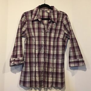 St. John's Bay Tops - Purple/gray/white button down, wrinkle look shirt