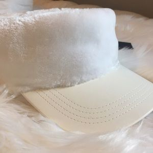 ✨BNWT✨ Nasty Gal White Fur Visor