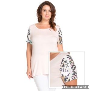 The Blossom Apparel Tops - PLUS Sequin Patch Sleeves Tee