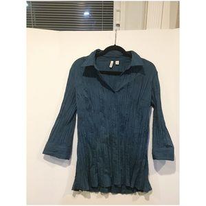 St. John's Bay Tops - Teal blue 3/4 sleeve button-down shirt