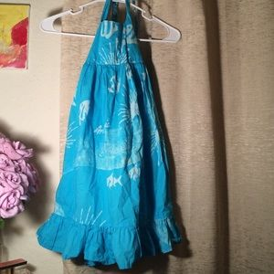 Uncommon Other - POOL BLUE HALTER RUFFLE TRIM SUMMER DRESS 4T