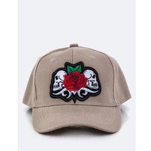Perfect Rose Skull Patch Tan Baseball Cap