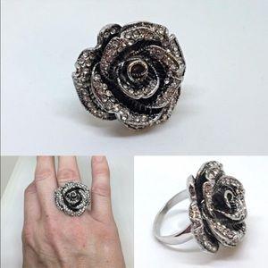 Jewelry - Silver & Rhinestone Rose Ring
