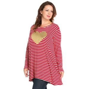 The Blossom Apparel Dresses & Skirts - PLUS Heart Shape Striped Jersey Dress