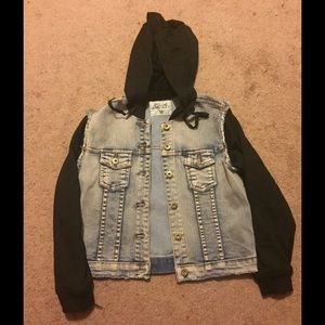 so nikki Other - Denim  jacket with contrast jersey sleeves & Hood.