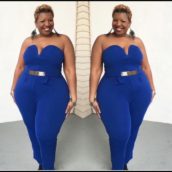 19e29b95e0b Plus Size Royal Blue Strapless Jumpsuit
