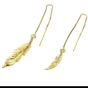 Colette Malouf Gold Feather Earrings