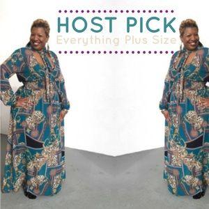 Dresses & Skirts - HP 1/21 💜Turquoise Plus Size Print Maxi Dress