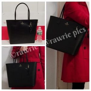 New Kate Spade black leather large zip tote