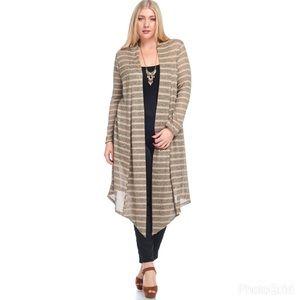 Sweaters - 🎄🍁🍂 Beige Stripe Cardigan  🌹