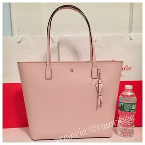 New Kate Spade soft pink leather large zip tote