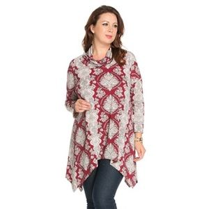 The Blossom Apparel Tops - PLUS Pattern Printed Cowl Neck Top