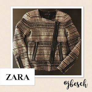 Zara Jackets & Blazers - Zara Woman Tweed Jacket with Side Zipper