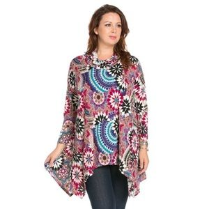 The Blossom Apparel Tops - PLUS Patrern Printed Cowl Neck Top