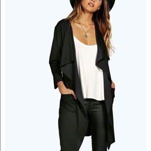 black waterfall duster jacket