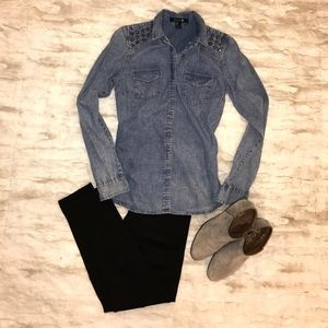 Forever 21 Denim Style Button Down Shirt