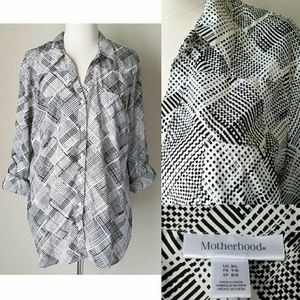 Motherhood Maternity Tops - Motherhood Silky Black White Roll Tab Button Shirt