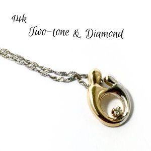 Jewelry - HOLD 14k Diamond Mother Child Pendant Necklace