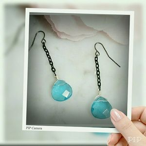 Jewelry - Faceted Blue Glass earrings