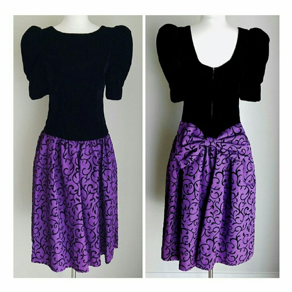 Vintage Dresses & Skirts - NWT Vtg Black Velvet & Purple Taffeta Formal Dress