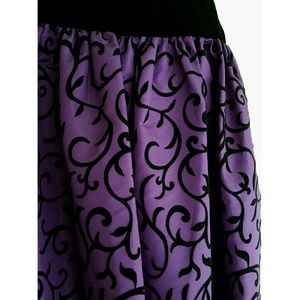 Vintage Dresses - NWT Vtg Black Velvet & Purple Taffeta Formal Dress