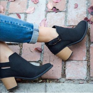 Shoes - Black Distress Nubuck Perforated Ankle Booties