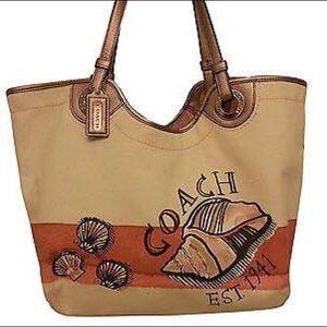 Coach Handbags - Authentic COACH large canvas & leather tote bag