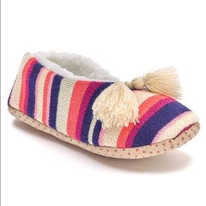 Sonoma Shoes - New Sonoma Striped Tassel Sherpa Lined Slippers