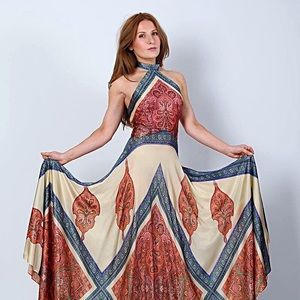 Vintage Bohemian Scarf Halter Backless Maxi Dress