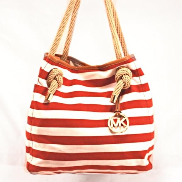 MICHAEL KORS Rust Red White Striped Nautical Tote.  M 5868a3b94e95a36db80a0811 d703a99569