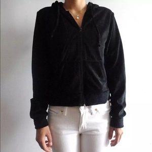 Velour Long Sleeve Zip Hoodie Jacket Small Medium