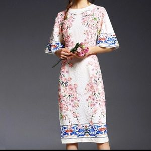 Dresses & Skirts - Peach Flower Appliques Vintage Printed Dress