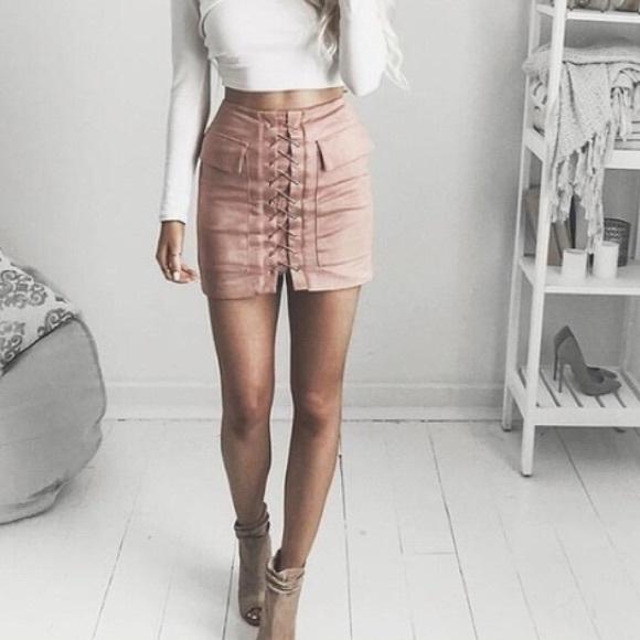 d6cba20cc6 Fashion Nova Skirts   Blush Pink Lace Up Faux Suede Skirt   Poshmark