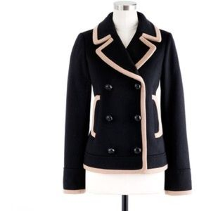 J. Crew Jackets & Blazers - NWT J.Crew 00 Tipped Peacoat Black And Tan Coat