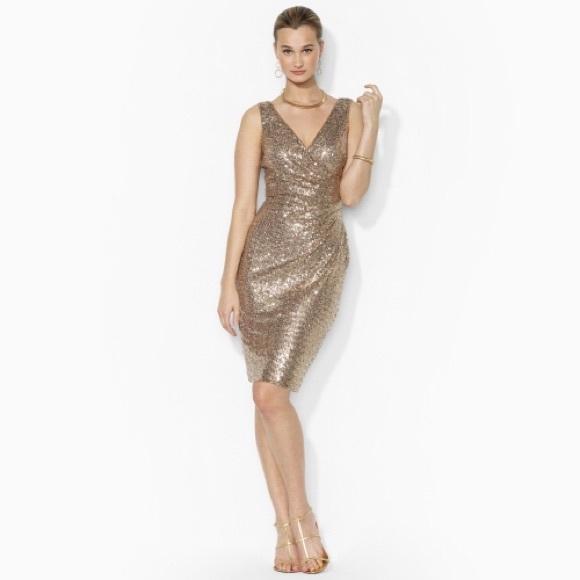 c9815e9a Ralph Lauren Dresses | Weekend Sale Gold Sequin Dress | Poshmark