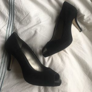 Banana Republic black suede peep toe heels