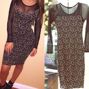 Dresses & Skirts - Black mesh dress with gold threading