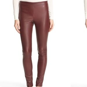 J Brand burgundy leather leggings, sz.Small