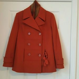 Que Jackets & Blazers - Que Burnt Orange Jacket with Scarf and Gloves