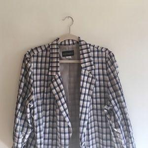 Vintage Longline Gingham Linen Blazer