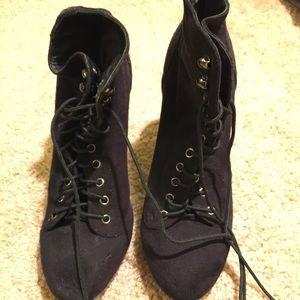 Black tie suede booties size 6